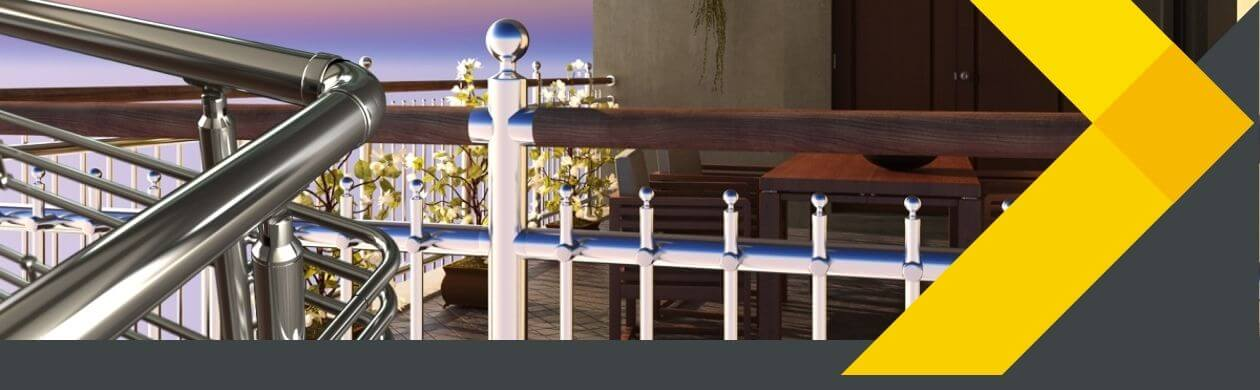 railing design in Hyderabad Bangalore Chennai Visakhapatnam Vijayawada showrooms of Alumil Buildmate